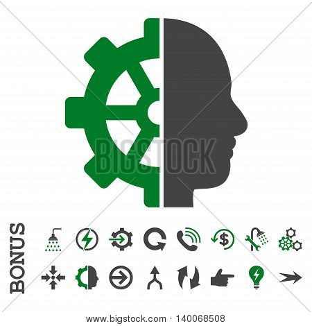 Cyborg Gear glyph bicolor icon. Image style is a flat iconic symbol, green and gray colors, white background.