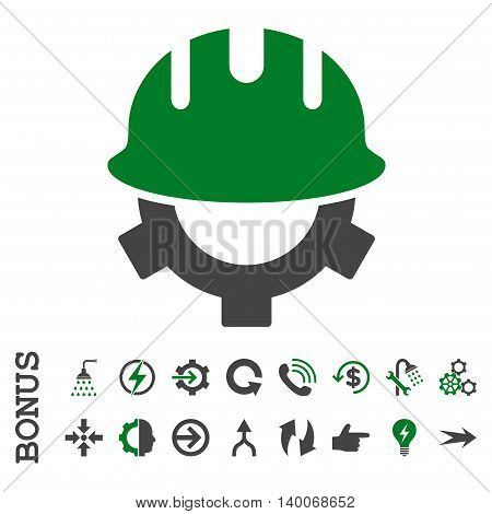 Development Helmet glyph bicolor icon. Image style is a flat iconic symbol, green and gray colors, white background.