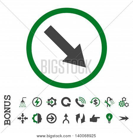 Down-Right Rounded Arrow glyph bicolor icon. Image style is a flat iconic symbol, green and gray colors, white background.