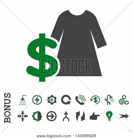 Dress Price glyph bicolor icon. Image style is a flat pictogram symbol, green and gray colors, white background.