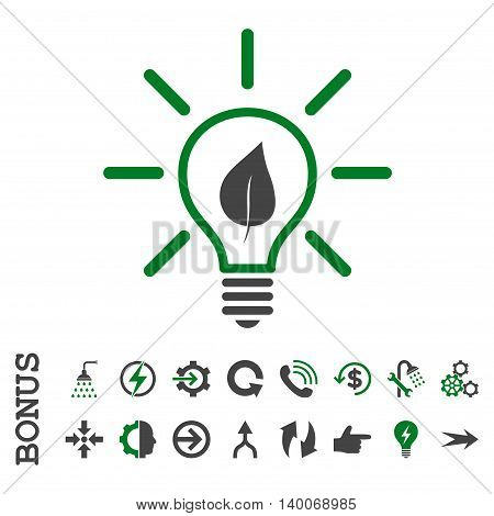 Eco Light Bulb glyph bicolor icon. Image style is a flat iconic symbol, green and gray colors, white background.