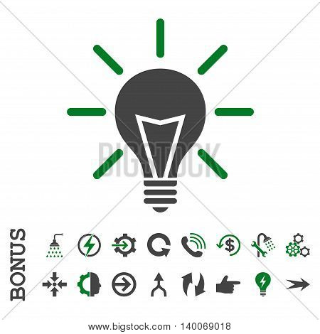 Electric Light glyph bicolor icon. Image style is a flat iconic symbol, green and gray colors, white background.