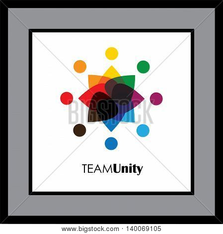 Abstract Colorful Five Happy People Vector Logo Icons As Ring