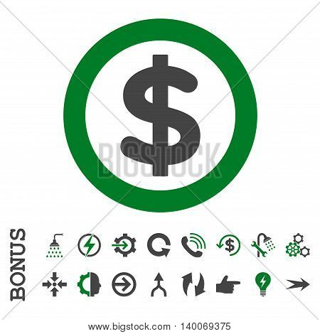 Finance glyph bicolor icon. Image style is a flat pictogram symbol, green and gray colors, white background.