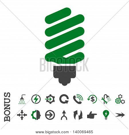 Fluorescent Bulb glyph bicolor icon. Image style is a flat iconic symbol, green and gray colors, white background.