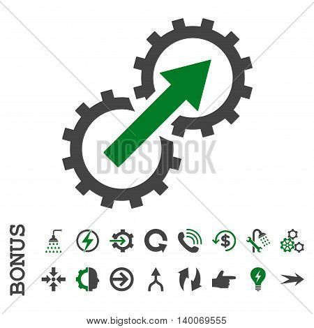 Gear Integration glyph bicolor icon. Image style is a flat pictogram symbol, green and gray colors, white background.