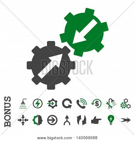 Gear Integration glyph bicolor icon. Image style is a flat iconic symbol, green and gray colors, white background.