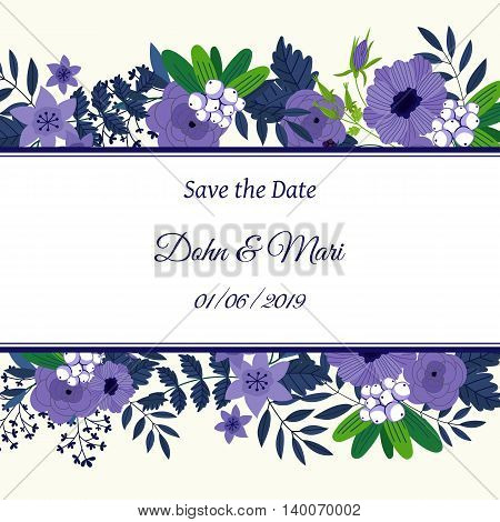 Cute wedding invitation to celebration on card with flowers decoration vector illustration. Wedding invintation card template. Flower leaf bunch. Wedding invintation. Flowers card. Layout of wedding invitation card. Flowers on frame. Wedding invintation