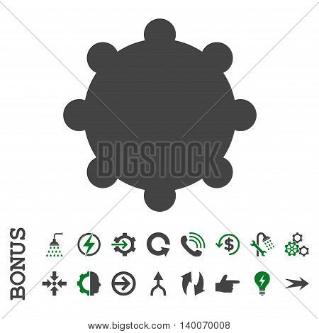 Gear glyph bicolor icon. Image style is a flat pictogram symbol, green and gray colors, white background.
