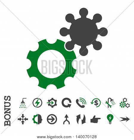 Gears glyph bicolor icon. Image style is a flat pictogram symbol, green and gray colors, white background.