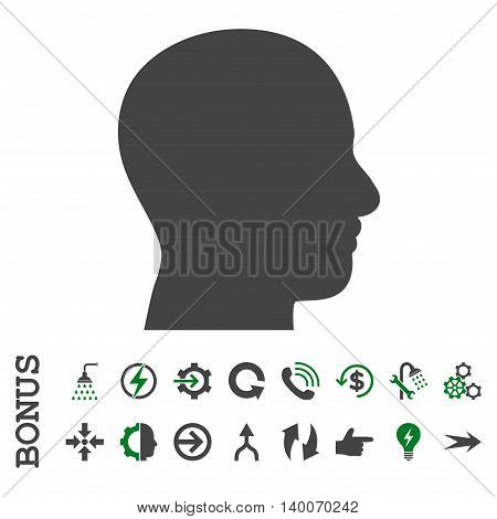 Head Profile glyph bicolor icon. Image style is a flat pictogram symbol, green and gray colors, white background.