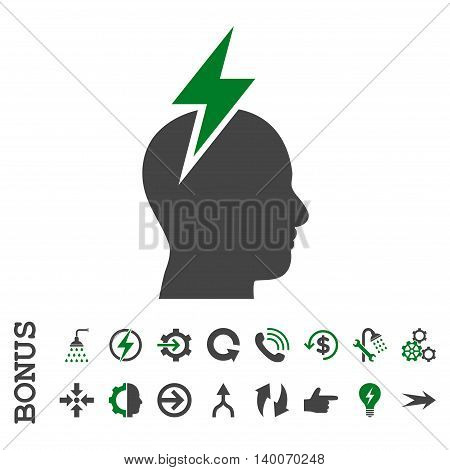 Headache glyph bicolor icon. Image style is a flat iconic symbol, green and gray colors, white background.
