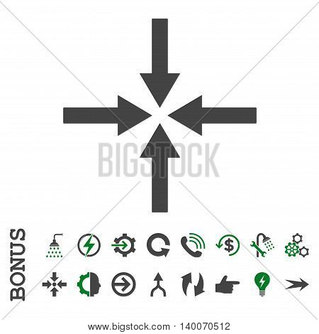 Impact Arrows glyph bicolor icon. Image style is a flat pictogram symbol, green and gray colors, white background.