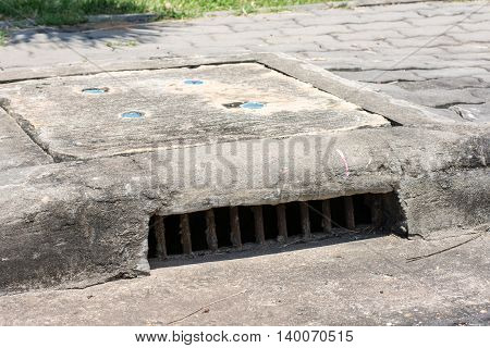 Sewer grate, cover, drain, cement, iron, floor