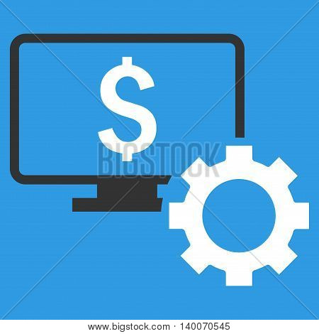 Financial Monitoring Options vector icon. Style is flat symbol, white color, blue background.