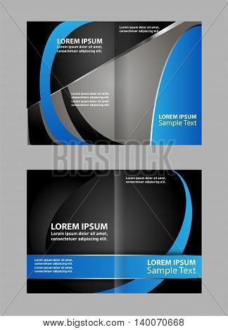Vector empty bi-fold brochure print template design, bifold bright blue booklet or flyer