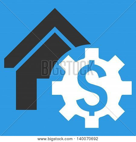 House Rent Options vector icon. Style is flat symbol, white color, blue background.