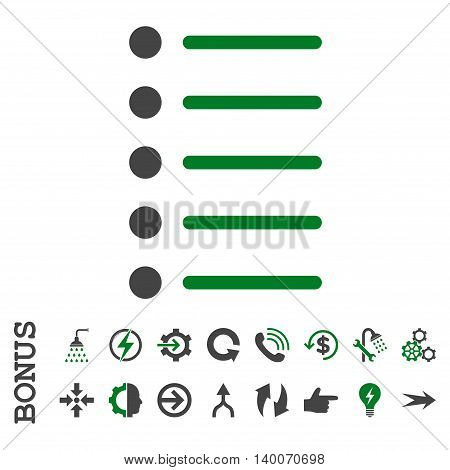 Items glyph bicolor icon. Image style is a flat iconic symbol, green and gray colors, white background.