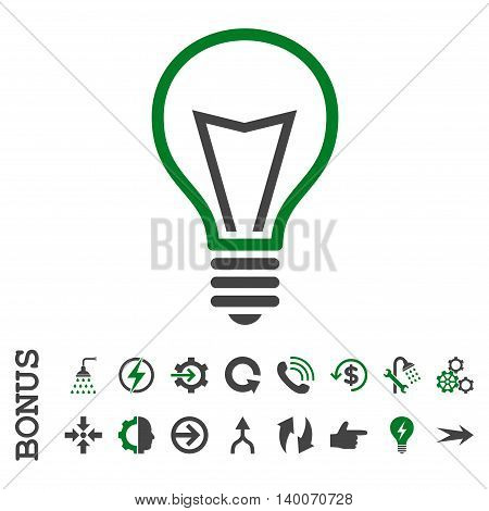 Lamp Bulb glyph bicolor icon. Image style is a flat pictogram symbol, green and gray colors, white background.