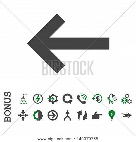 Left Arrow glyph bicolor icon. Image style is a flat pictogram symbol, green and gray colors, white background.