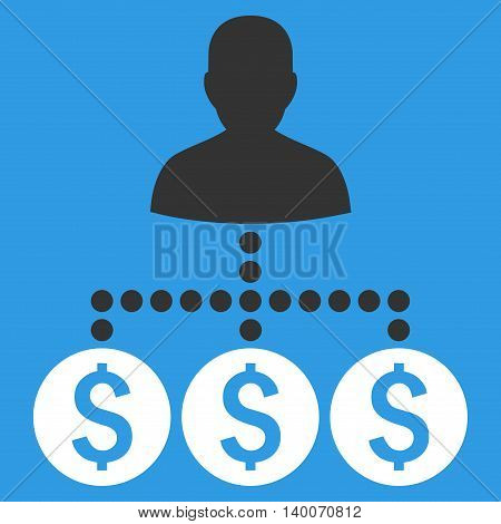 Money Collector vector icon. Style is flat symbol, white color, blue background.