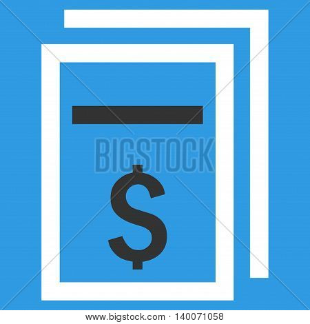 Price Copy vector icon. Style is flat symbol, white color, blue background.