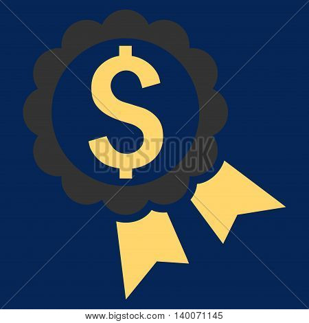 Bank Award vector icon. Style is flat symbol, yellow color, blue background.