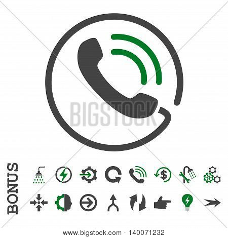 Phone Call glyph bicolor icon. Image style is a flat iconic symbol, green and gray colors, white background.