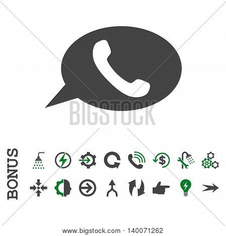 Phone Message glyph bicolor icon. Image style is a flat pictogram symbol, green and gray colors, white background.