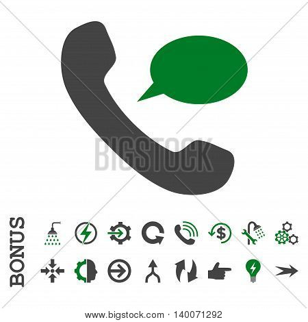 Phone Message glyph bicolor icon. Image style is a flat iconic symbol, green and gray colors, white background.