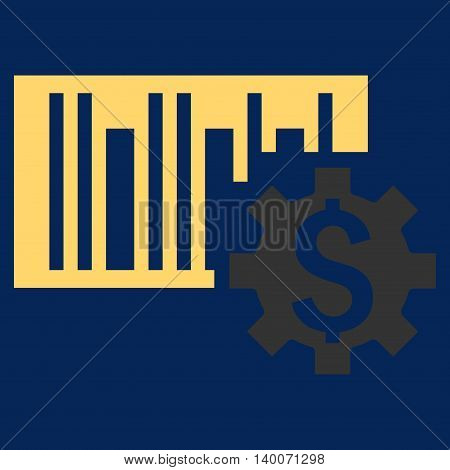 Barcode Price Setup vector icon. Style is flat symbol, yellow color, blue background.