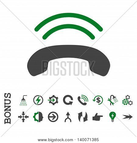 Phone Ring glyph bicolor icon. Image style is a flat iconic symbol, green and gray colors, white background.
