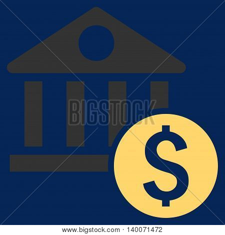 Dollar Bank vector icon. Style is flat symbol, yellow color, blue background.