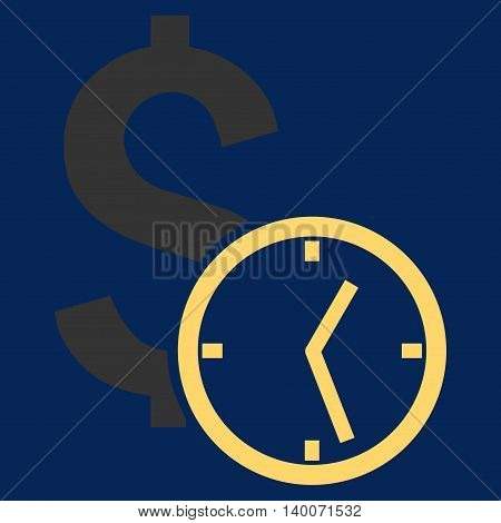 Dollar Credit vector icon. Style is flat symbol, yellow color, blue background.