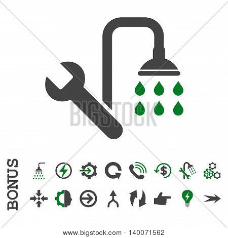 Plumbing glyph bicolor icon. Image style is a flat iconic symbol, green and gray colors, white background.