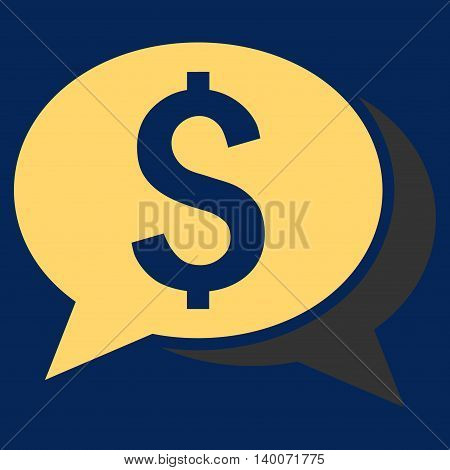 Financial Chat vector icon. Style is flat symbol, yellow color, blue background.