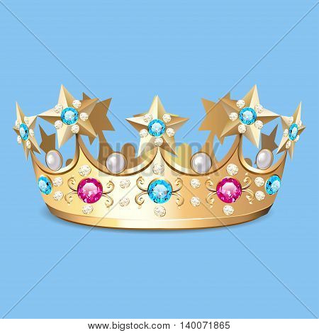 Illustration of a golden crown with pearls. Crown as a design el