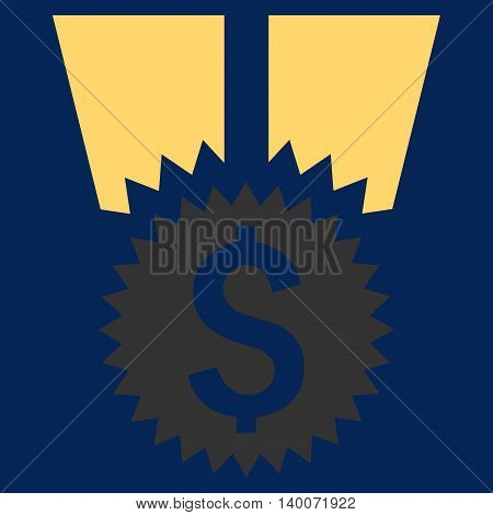 Financial Medal vector icon. Style is flat symbol, yellow color, blue background.