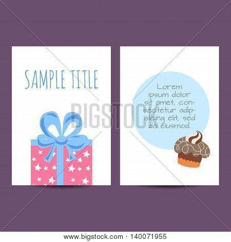 Happy birthday kids postcard template vector holiday illustration
