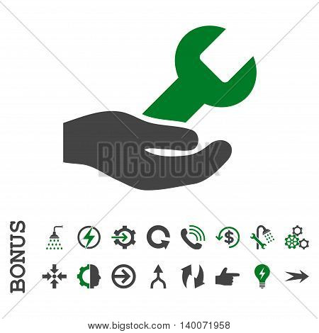 Repair Service glyph bicolor icon. Image style is a flat pictogram symbol, green and gray colors, white background.