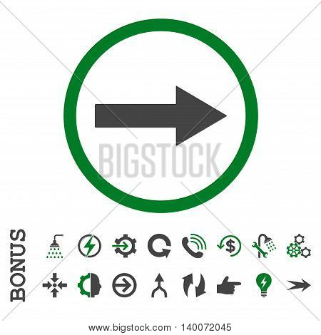 Right Rounded Arrow glyph bicolor icon. Image style is a flat iconic symbol, green and gray colors, white background.