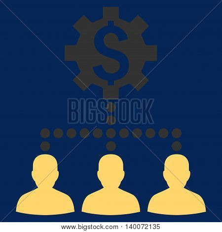 Industrial Bank Clients vector icon. Style is flat symbol, yellow color, blue background.