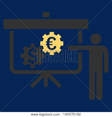 International Banking Project vector icon. Style is flat symbol, yellow color, blue background.