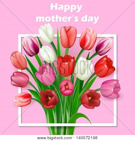 Happy Mothers Day lettering. Mothers day greeting card with Bloo