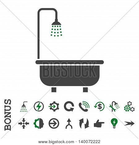 Shower Bath glyph bicolor icon. Image style is a flat pictogram symbol, green and gray colors, white background.