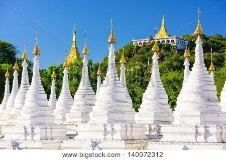 Sandamuni Pagoda Temple stupas in Mandalay, Myanmar.