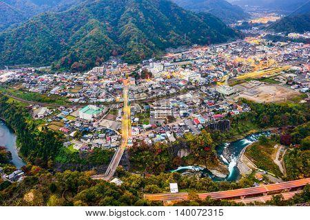 Otsuki, Japan town cityscape.