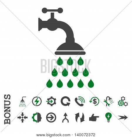 Shower Tap glyph bicolor icon. Image style is a flat iconic symbol, green and gray colors, white background.