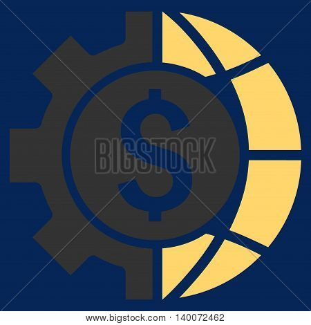 World Industry Finances vector icon. Style is flat symbol, yellow color, blue background.
