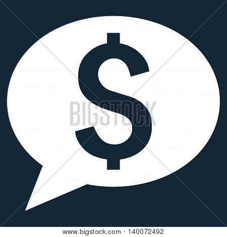 Bank Message vector icon. Style is flat symbol, white color, dark blue background.